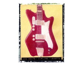 Jack White White Stripes guitar art print / music gift / rock n roll art / music room decor / guitar gift / man cave art