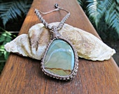 Reserved for Connie-Maria: Jasper Stone Macrame Wrapped Pendant Necklace - Ash Brown Thread