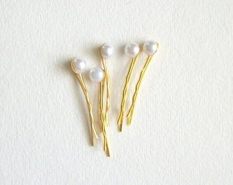 White Faux Pearl Bobby Pin Set of Five White and Gold Bobby Pins Vintage Inspired White Hair Pins Set Wedding Bride Simple Hair Accessories