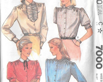 Vintage 1980s Misses Set of 4 Blouses Shirts Tops McCalls 7000 Clothing Sewing Pattern Size 16 Bust 38 Waist 30 Womens Womans Ladies