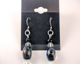 Galaxy Starfilled Sparkle Glass Dangle Earrings
