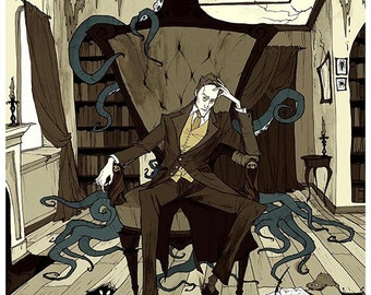 H.P. Lovecraft 5X7 Mini Print Postcard