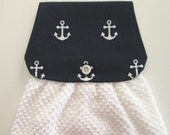 Hanging Kitchen Towel  - Nautical Anchors Navy Blue White Terry Cloth Towel Button Closure