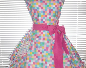 Retro Apron Pastel Rainbow Checks Paired with Rainbow Plaid and Fuchsia Circular Flirty Skirt Ruffled Ribbon Trimming