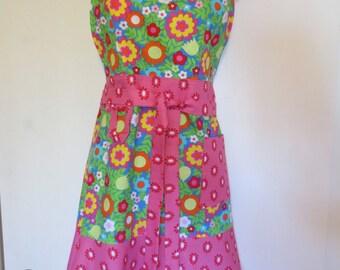 Pink/Blue Floral Print Full Apron