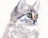 Kitten painting original watercolor, art gift girls