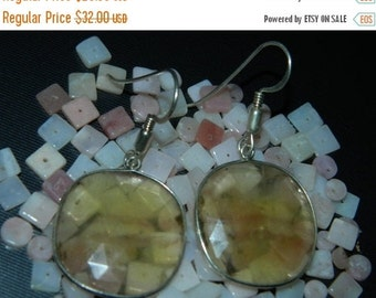 20%off. 20 Percentoff. Streling Silver Earring with Faceted Fluorite -Fancy Shape Cabochon earring Size 25mm Approx