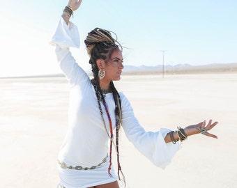 CREAM Playful Priestess Dress, Boho Bride, Festival Dress, Hippie Dress, Wedding, Gypsy, Boho Wedding, Bell Sleeves