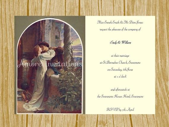 Romeo And Juliet Wedding Invitations: Digital Printable Vintage Romeo And Juliet Invitation