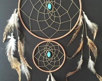 Dream Catcher with Double Rings brown and tan with turquoise and feathers, wall decor! boho decor, boho home, boho dreamcatcher!