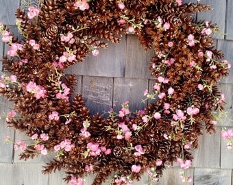 Cherry Blossoms and Pinecone Wreath