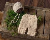 RTS - SALE - Newborn Baby Bonnet and pants overalls, knit baby bonnet, ivory cream newborn, handmade, baby photo prop, photography prop