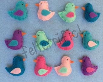 1 Dozen Handmade Felt Mini Bird Ornaments
