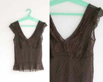 SALE/ Vintage BROWN lace tank/ Summer fashion/ sizeS- M/ Crop top/ crochet top/ Lacy top