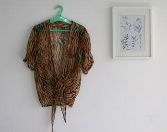 SALE / Vintage leopard print blouse, Short sleeve blouse, summer chiffon sheer shirt