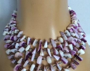 Wampum Shell 5 Strand Bib Necklace