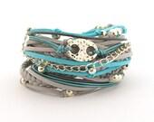 Valentine gift, Turquoise Gray Silver Boho Wrap Bracelet, Women Bohemian Jewelry, Gray Blue Hippie Gypsy Bracelet, gift for h