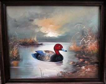 Vintage Duck Painting by Mahal Water Foul Oil on Canvas Red Head Duck Oil Painting Vintage Frame Brown
