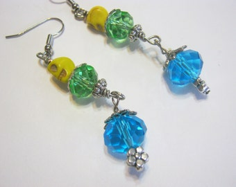 Sugar Skulls Day of the Dead Green Blue Yellow Earrings
