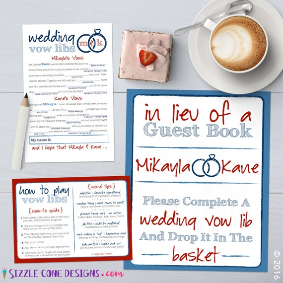 Wedding Vow Mad Libs Printable: Personalized Wedding Vows Mad Lib Bridal By SizzleConeDesign