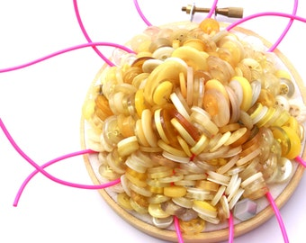 POPCORN AND LICORICE, Upcycled Button Embroidery Hoop Art, Organic Shapes In Shades Of Hot Pink, Butter, Lemon, Gold, Banana, Cream,