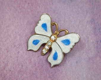 """Vintage Butterfly Pin Brooch - Translucent Enamel Wings - Millegrain Edging - Faceted Glass Rhinestone Body - Gold Metal Frame - 7/8"""""""