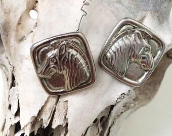 Vintage square horse earrings