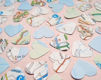 2000 UK Map Confetti Hearts - Wedding Travel Vintage Decor - Heart Die Cut, Wedding Favours