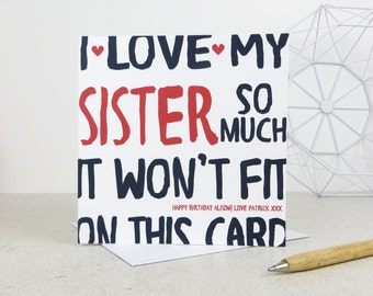 Funny Sister Birthday Card - personalised card - card for Sister - birthday card - funny card - Sister birthday - uk - Sis