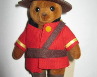 Teddy Bear doll Mountie figure RCMP Royal Canadian Mounted Police 80s 1980s Canadian Canadiana Canada