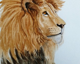 Original Lion Watercolor Painting /Lion Decor / Lion Art/