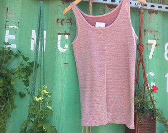 VINTAGE 1960s Red Patterned Knit Tank Top
