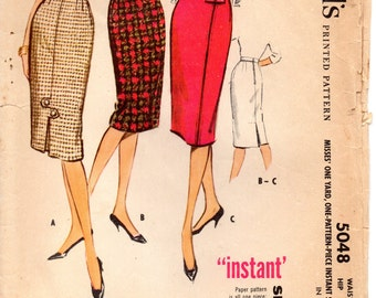 """Vintage Sewing Pattern, McCalls 5048 """"Instant"""" One-Yard Skirt 1950s Pattern, Waist 25"""" (63.5cm) Hip 34"""" (86.4cm), Free US Shipping"""