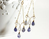 Iolite Chandelier Earrings, Goldfilled wire wrap, violet blue gemstone, fine long earrings, chain earrings, boho earrings, gift for her,3267