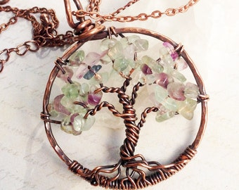 Tree of Life Necklace, Fluorite, Copper Wire Necklace, Wire Work, Wire Wrapped, purple green gemstone tree, Talisman Necklace, gift for her