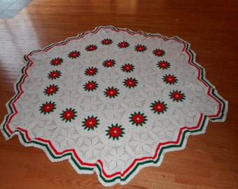 Beautiful Handmade Knitted Christmas Blanket/Twin Bed Cover or Table Cover