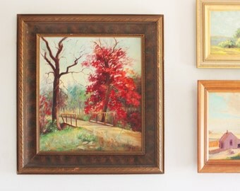 New England Fall landscape large painting wall decor signed A Gray Art Deco Frame 1933