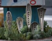Custom Hand Stamped Vintage Silver Plated Flatware Handles Garden Herb Markers Set of 5