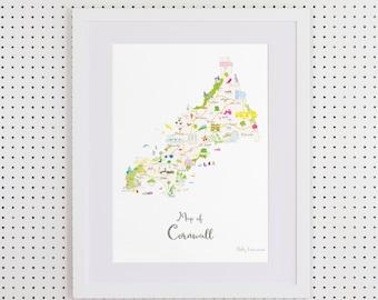 Map of Cornwall Art Print