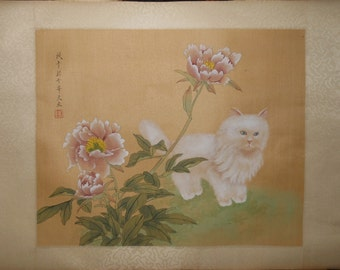 Vintage white cat and flowers signed water color on silk