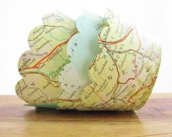 Set of 12 - Vintage Map Cupcake Wrappers - Made to Order