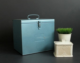 Vintage Metal Box Front Opening Blue Case With Top Handle and Shelves Workshop Storage