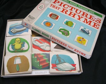 Pictures That Rhyme, Flannel Board Teaching Aid, Milton Bradley from 1967, groups of three rhyming cards, use for education or crafting
