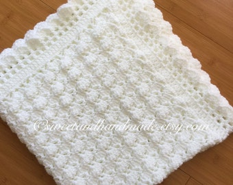 crochet baby blanket afghan blanket blanket baby shower White baby blanket MADE TO ORDER