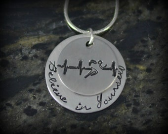 Believe in Yourself Personalized Runner Necklace - Inspirational Jewelry - Running Jewelry