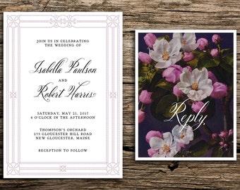 Homespun Wedding Invitations // Vintage Spring Wedding Invitation Apple Orchard Wedding Invites Floral Mauve Antique 1920s Romantic
