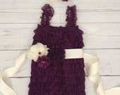 Baby girl romper-eggplant and ivory baby romper-eggplant purple baby lace romper-1st birthday outfit-purple cake smash romper-romper sash