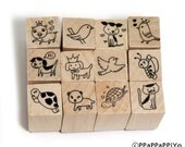 Cute Rubber 10 Stamp Set