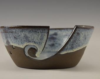Stoneware yarn bowl, ceramic knitting bowl, pottery crochet bowl