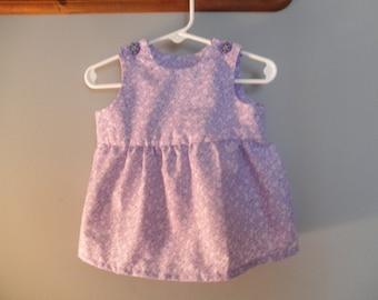 Infant Dress - Size 3 months,  lavender floral with flower buttons   K201